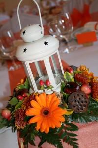 Őszi esküvői asztaldísz